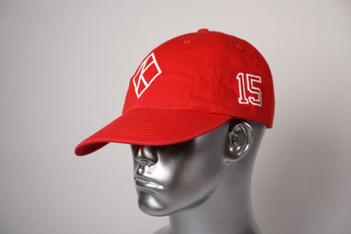 """ΚΑΨ diamond """"K"""" red baseball cap with the #15 on left side and Kappa Alpha Psi embroidered on the rear."""