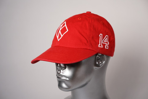 "ΚΑΨ diamond ""K"" red baseball cap with the #14 on left side and Kappa Alpha Psi embroidered on the rear."