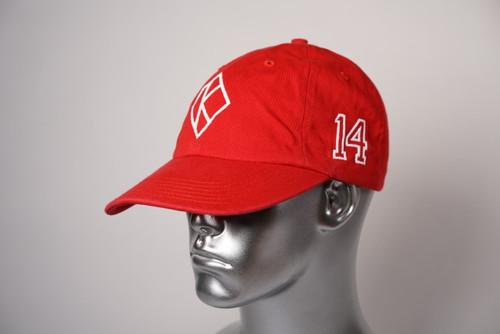 """ΚΑΨ diamond """"K"""" red baseball cap with the #14 on left side and Kappa Alpha Psi embroidered on the rear."""