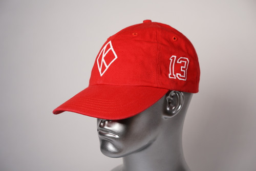 "ΚΑΨ diamond ""K"" red baseball cap with the #13 on left side and Kappa Alpha Psi embroidered on the rear."