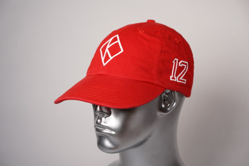 "ΚΑΨ diamond ""K"" red baseball cap with the #12 on left side and Kappa Alpha Psi embroidered on the rear."