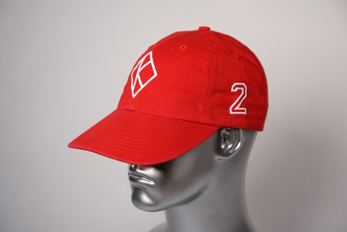 "ΚΑΨ diamond ""K"" red baseball cap with the #2 on left side and Kappa Alpha Psi embroidered on the rear."