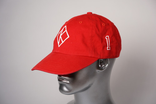 "ΚΑΨ diamond ""K"" red baseball cap with the #1 on left side and Kappa Alpha Psi embroidered on the rear."