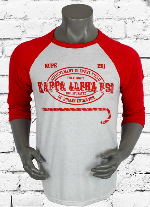 Kappa Alpha Psi (ΚΑΨ) baseball tee has a bold, athletic-inspired graphic, this raglan crewneck nods to gym-issued style. Wear it on your days off with your favorite jean or jogger.