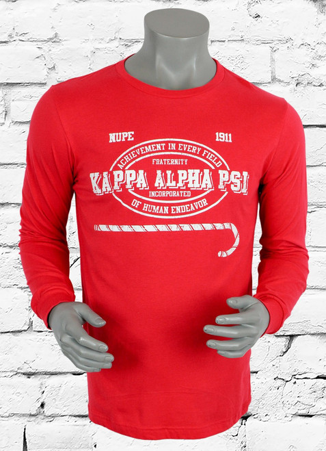 Red Kappa Alpha Psi long sleeve tee. White screen print ΚΑΨ original graphic on front chest area.