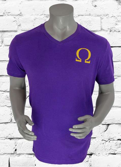 ΩΨΦ V-neckline tee with oversized iconic symbol, soft fabric with straight hem. Imported.