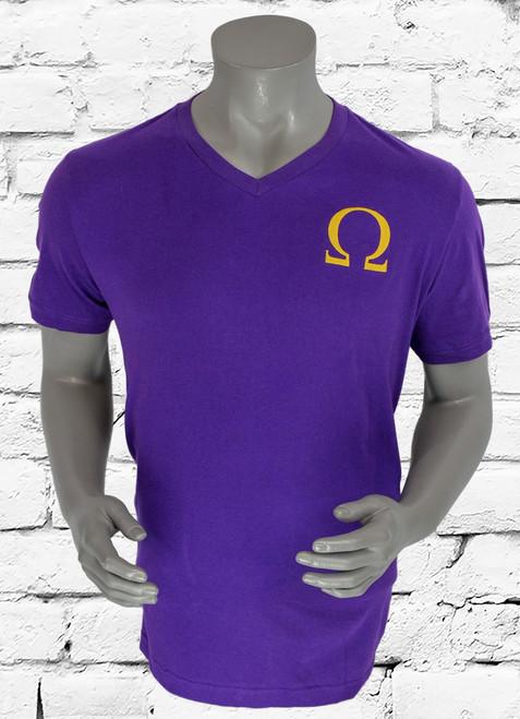 ΩΨΦ V-neckline tee with oversized iconic symbol, soft fabric with straight hem. Imported.