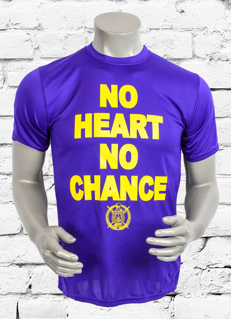 "ΩΨΦ ""NO HEART NO CHANCE"" performance  men's training t-shirt is made with sweat-wicking fabric to help keep you dry and comfortable during your workout. Purple shirt with athletic gold screen print."