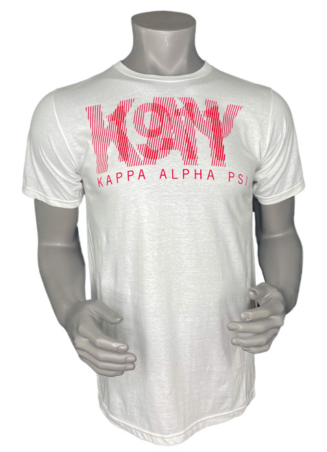 """Kappa Alpha Psi 2-In-1  white short sleeve t-shirt with red screen printed """"ΚΑΨ & 1911"""" design."""