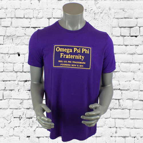 Purple short-sleeve ΩΨΦ Signature tee with logo graphic print on chest. Crew neckline and straight hem.