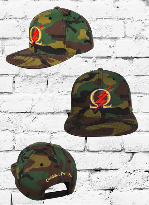 The Omega Psi Phi Camo Snapback features 80% Acrylic / 20% Wool fabrication with an embroidered Omega  logo at the front panels and an adjustable closure at the rear. Additional details include a rear metallic gold embroidered Omega Psi Phi design on rear.