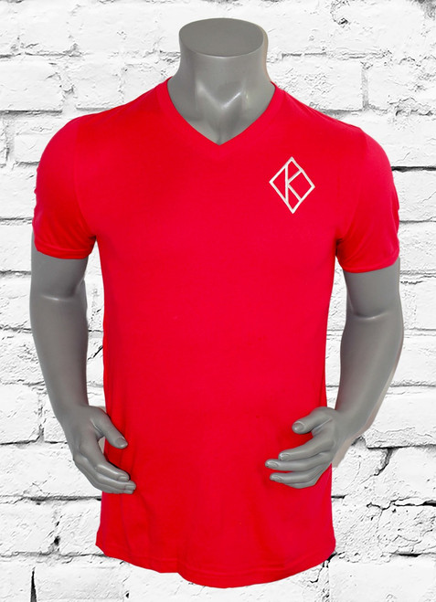 Kappa Signature tee is a comfortable cotton shirt with a v-neckline and iconic diamond K at left chest. Red shirt with white embroidered design.