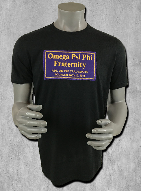 Black short-sleeve ΩΨΦ Signature tee with logo graphic print on chest. Crew neckline and straight hem.