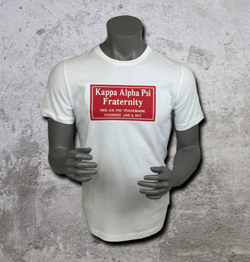 White short-sleeve ΚΑΨ Signature tee with logo graphic print on chest. Crew neckline and straight hem.