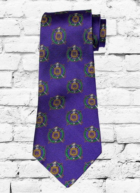 Omega Psi Phi 100% silk woven tie. This tie is covered in the ΩΨΦ fraternity escutcheon and designed using the fraternity colors.
