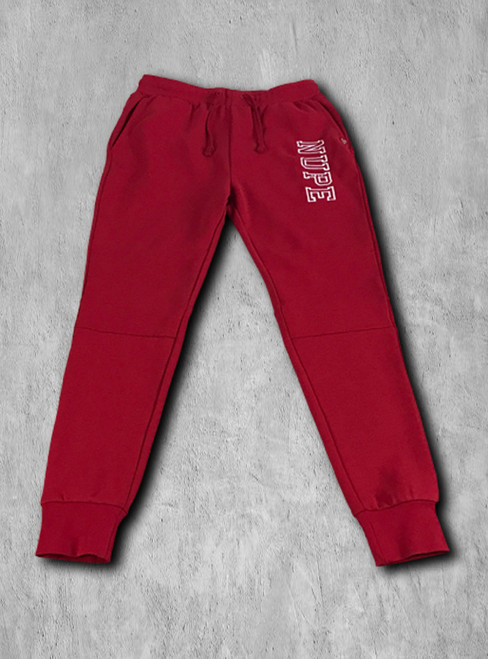 """Nupe athletic fleece jogger pants made with triple-layer, double-jersey performance fleece for superior comfort and feel.  Fashionable slim fit profile constructed with knee patchwork and 3"""" ribbed ankle cuffs for a secure fit and full range of motion.  Side slant pockets, zipper rear pocket and drawstring waist."""