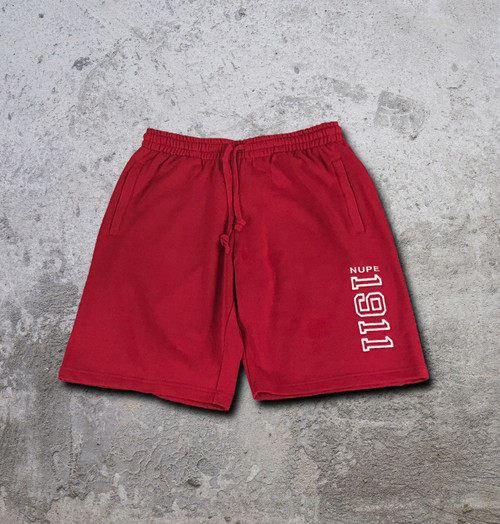 """Nupe athletic fleece shorts made from a heavy weight terry fleece fabric for extreme comfort and durability.  Strong waist band support and side and back pockets with hemmed bottom. White embroidered """"1911"""" in red shorts."""