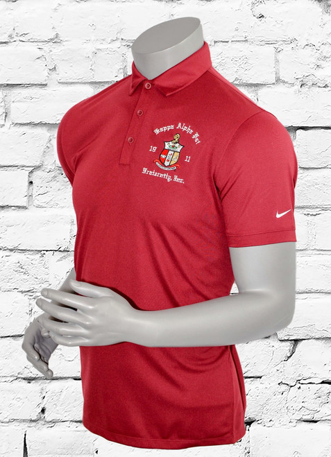 Built from Dri-FIT fabric, this polo helps keep you cool and dry. Left chest embroidered ΚΑΨ shield. The stitch-trimmed gussets make a distinctive statement and allow for easy movement. The design features a self-fabric collar, three-button placket and open hem sleeves. Pearlized buttons are selected to complement the shirt color. The contrast Swoosh design trademark is on the left sleeve. Made of 4-ounce, 100% polyester.