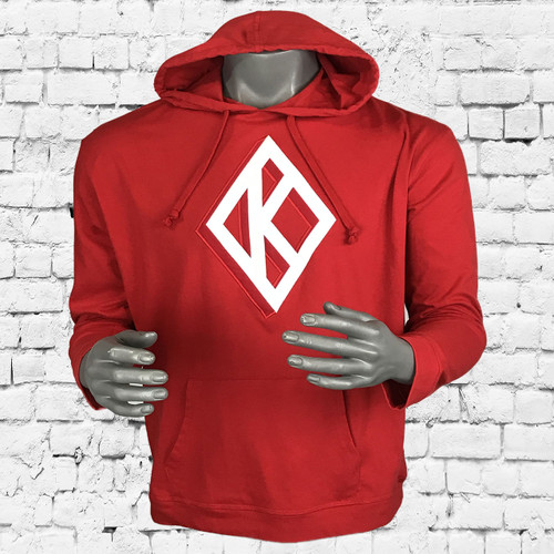 Stylish ΚΑΨ pullover hoodie made with triple-layer, double-jersey performance fleece for superior comfort and unique feel.  Features double layer twill appliqué  Kappa Alpha Psi Diamond design. Fashionable slim fit profile features side seam splits with zippers, contrast front and back length, and reverse front pouch pocket for a sleek look.