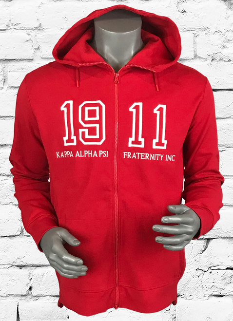 "ΚΑΨ athletic full front zip hoodie with embroidered ""1911 Kappa Alpha Psi"" design, triple-layer, double-jersey performance fleece for a unique feel and superior comfort.  Design details include a full 2-way front zipper with mock neck lined 3-panel hood, drawstrings and front pouch pockets.  Fashionable slim fit profile enhanced with side rib panel for extra comfort and range of motion and contrast length front and back."