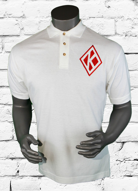 Kappa Alpha Psi Signature Polo is a white pique polo with embroidered designs on the left chest, rear, left arm, and right arm. Front left chest diamond K.