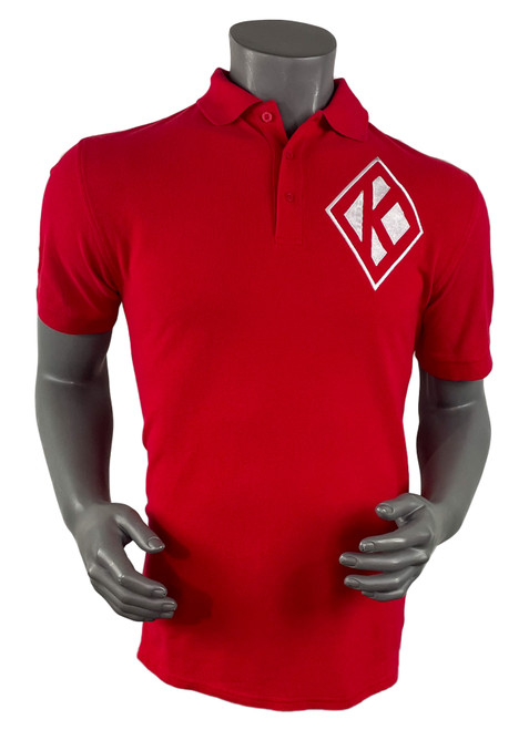 Kappa Alpha Psi Signature Polo is a white pique polo with embroidered designs on the left chest, rear, left arm, and right arm. Front left chest diamond K and  left sleeve embroidered 11.