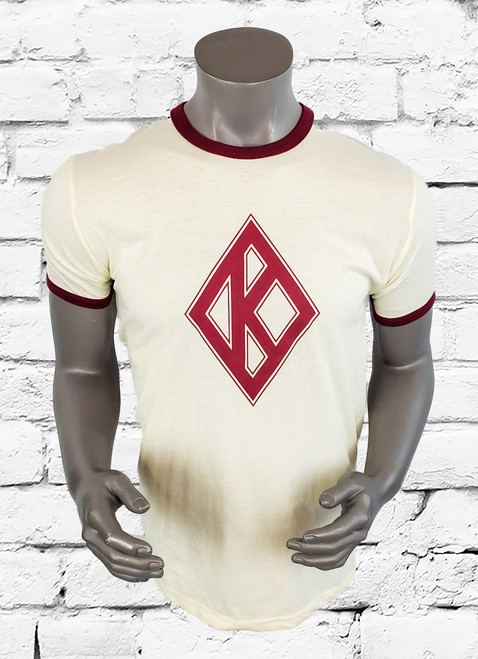 Kappa Alpha Psi ringer t-shirt, natural and maroon with maroon diamond K center chest design.