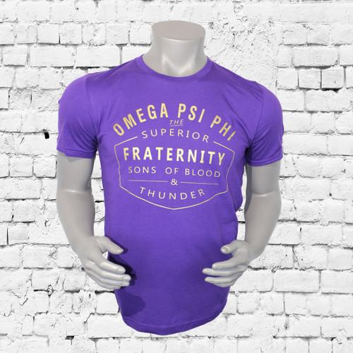 ΩΨΦ Fraternity Inc purple short sleeve shirt with gold screen print design. Omega Psi Phi superior fraternity sons of blood and thunder design center chest.