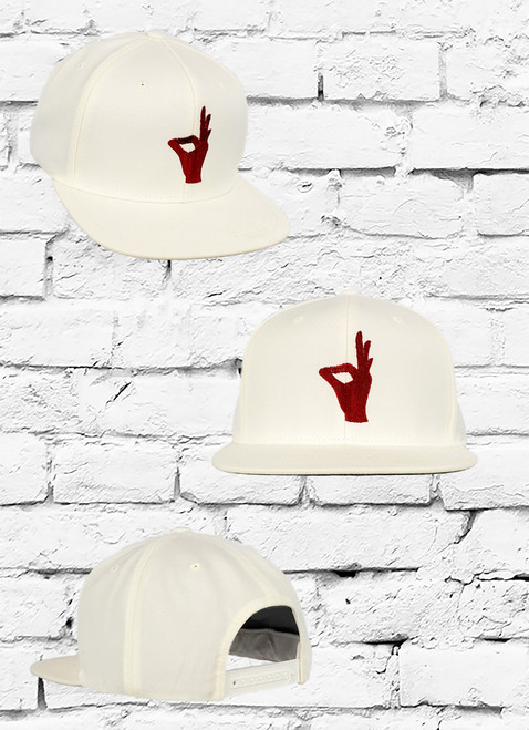 Cream Kappa Alpha Psi Yo-sign snapback. This hat is perfect hat for any Nupe. Cream hat with crimson Yo hand sign embroidered on center panel.