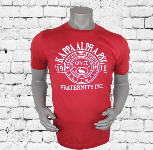 "Kappa Alpha Psi T-Shirt. Crimson colored shirt with white screen printed design on front and rear. The front design contains Kappa Alpha Psi ""true manliness fidelity"" design. -100% Cotton Tee"
