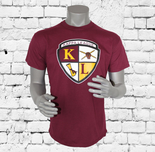 Kappa League Crest classic tee has a ribbed-knit crewneck, screen printed chest logo, open short sleeves and straight hem. 100% cotton. Machine wash, cold. Imported.  Custom Group orders please email: info@greekkulture.com