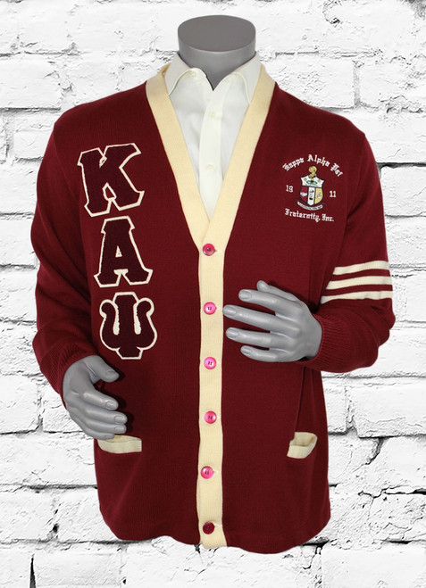 Crimson and cream ΚΑΨ cardigan sweater with chenille patches and an embroidered Kappa Alpha Psi Shield.