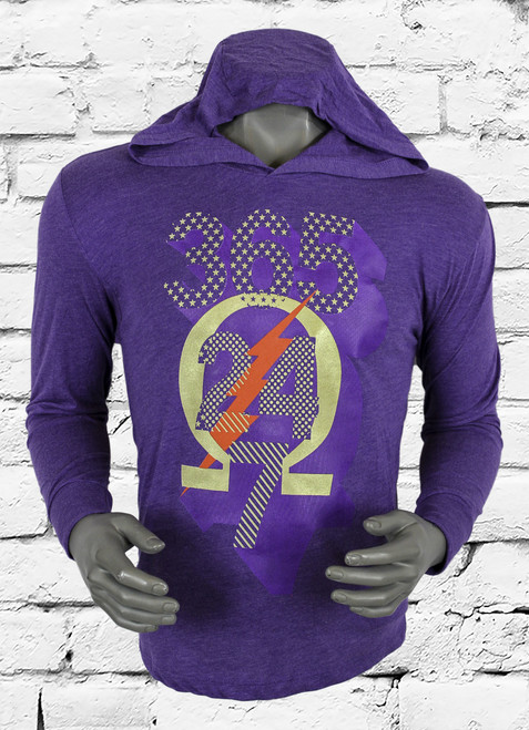 The Omega Psi Phi 365 dry men's training hoodie is made with sweat-wicking fabric to help keep you dry and comfortable. Heather purple long sleeve t-shirt with 365/24/7 Omega screen print on center chest.