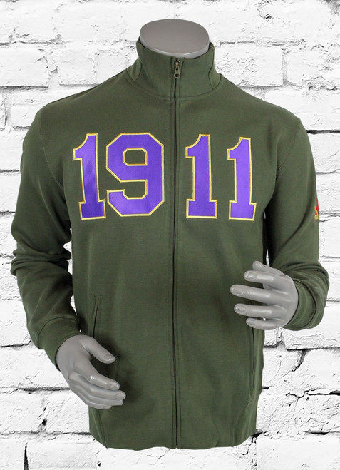 Omega Psi Phi (ΩΨΦ) athletic track jacket made with triple-layer, double-jersey performance fleece for a unique feel and superior comfort. Slim fit profile with full front zipper and zippered slant pockets. Mock collar and waist band feature a flat front with rear ribbed bands, providing a secure fit while maintaining a tailored profile.