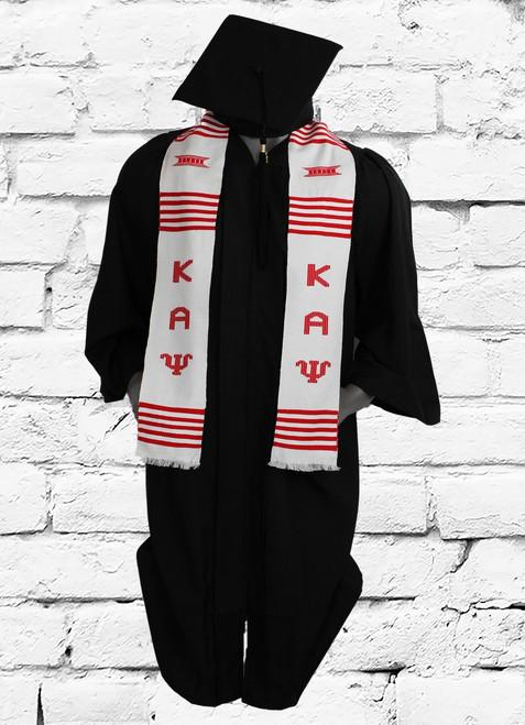 Kappa Alpha Psi white graduation kente stole. Hand woven in Ghana.