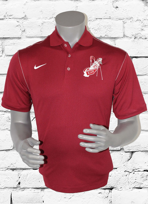 Kappa Alpha Psi golf polo is crimson with contrast stitch to offer a classic style while staying dry through heated rounds of golf with Dri-FIT moisture management technology. Design details include a flat knit collar, pearlized buttons and open hem sleeves. Features a three-button placket and side vents. The contrast Swoosh design trademark is embroidered on the right chest. The left chest has a original embroidered ΚΑΨgolf bag.  Made of 5.6-ounce, 100% polyester Dri-FIT fabric.