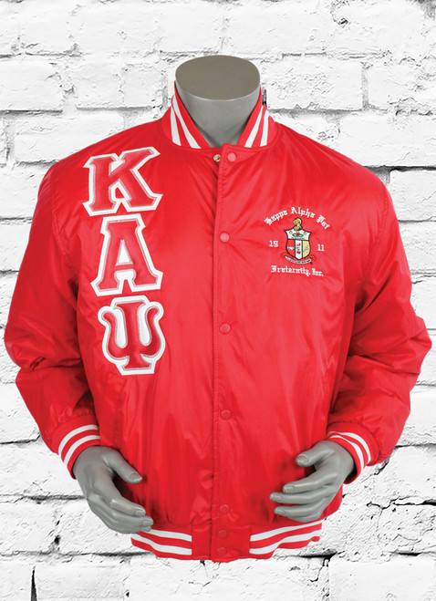 In a sleek Duraweav™ fabric, this baseball jacket features the signature Kappa Alpha Psi shield  and double appliqué ΚΑΨ greek symbols from the Greek Kulture classic Stadium collection.