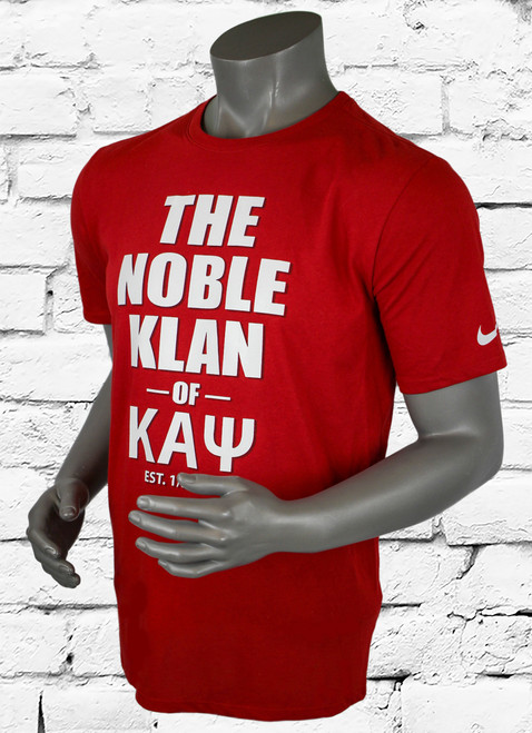 Kappa Alpha Psi Athletic T-Shirt is a crimson Nike Dri-Fit shirt with white screen printed design.