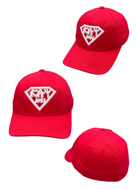 The Red Kappa Alpha Psi Super Series Alternate Fitted Cap features a unique Nupe-inspired twist with an embroidered Diamond logo at the front panels.