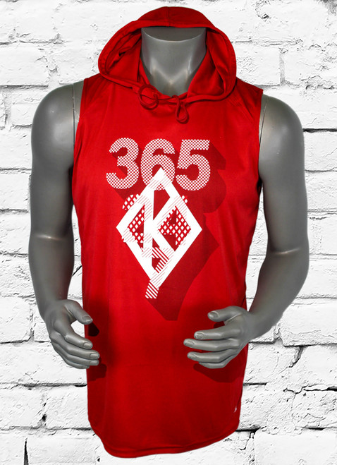 Kappa Alpha Psi 365 sleeveless hooded tee is a red 100% polyester tee with a screen printed graphic with shadow overlays that make the design jump of the shirt.