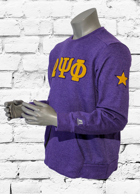 """Vintage ΩΨΦ Varsity Sweatshirt is made for all-day comfort or any version of endurance training. """"ΩΨΦ"""" chenille patches are sewn onto the chest. The left shoulder is embroidered with a chenille patch star."""