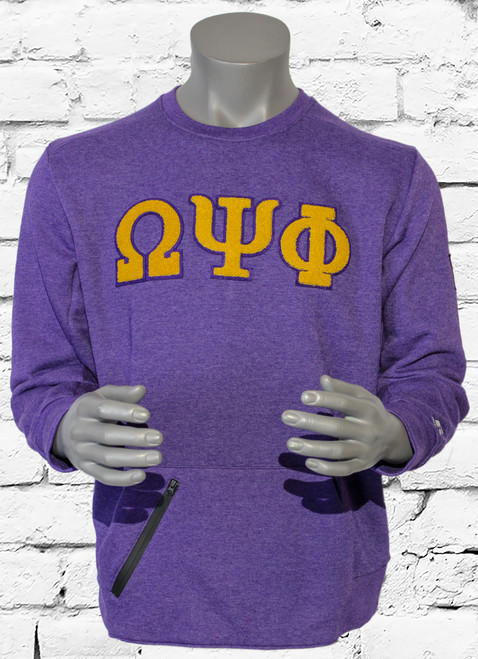 "Vintage ΩΨΦ Varsity Sweatshirt is made for all-day comfort or any version of endurance training. ""ΩΨΦ"" chenille patches are sewn onto the chest. The left shoulder is embroidered with a chenille patch star."