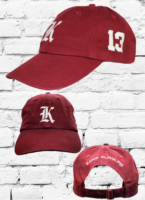 "Kappa Alpha Psi #13 vintage cap is a classic crimson dad cap. Embroidered white front Kappa ""K"", left side embroidered line number and rear Kappa Alpha Psi lettering."