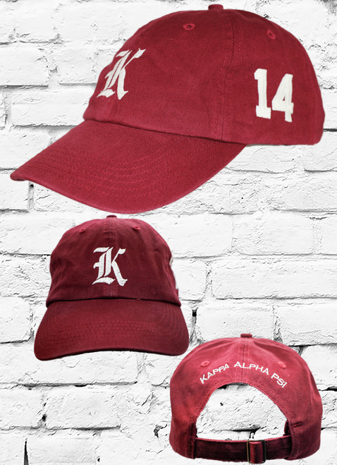 "Kappa Alpha Psi #14 vintage cap is a classic crimson dad cap. Embroidered white front Kappa ""K"", left side embroidered line number and rear Kappa Alpha Psi lettering."