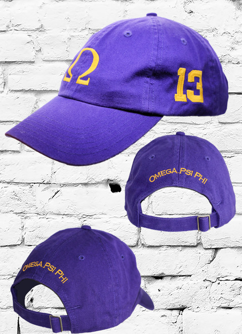 """Omega Psi Phi #13 vintage cap is a classic purple dad cap. Embroidered old gold front Omega """"Ω"""", left side embroidered line number and rear Omega Psi Phi lettering."""