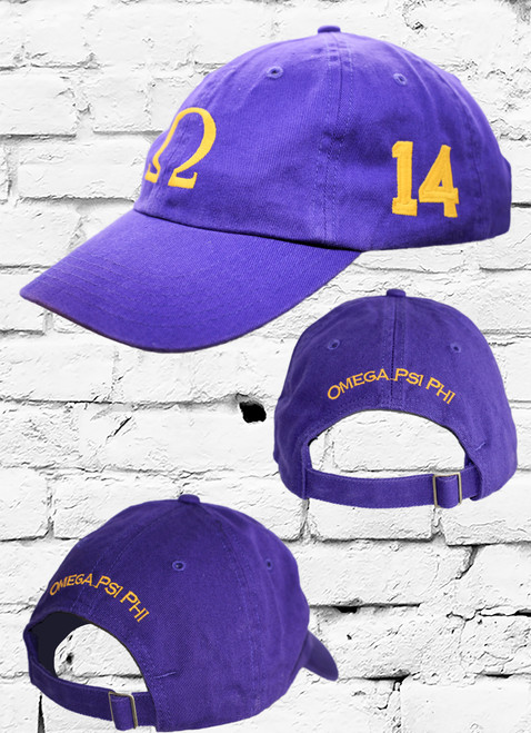 "Omega Psi Phi #14 vintage cap is a classic purple dad cap. Embroidered old gold front Omega ""Ω"", left side embroidered line number and rear Omega Psi Phi lettering."