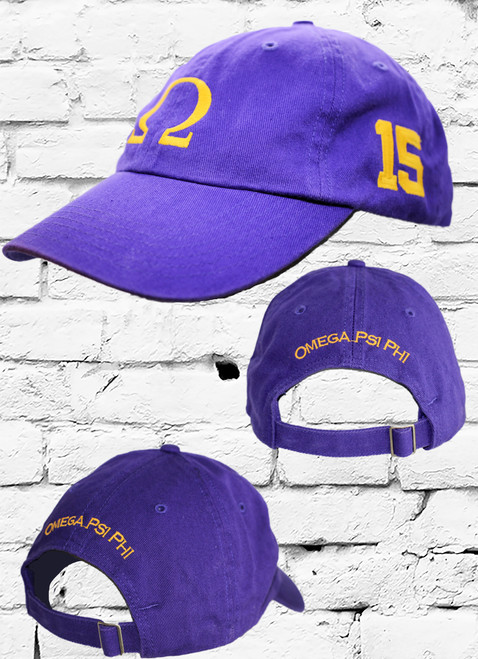 """Omega Psi Phi #15 vintage cap is a classic purple dad cap. Embroidered old gold front Omega """"Ω"""", left side embroidered line number and rear Omega Psi Phi lettering."""