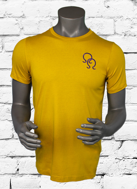 "ΩΨΦ old gold ""Double Hook"" tee, is an ultra soft crewneck t-shirt with a royal purple double hit Ω design embroidered on the left chest."