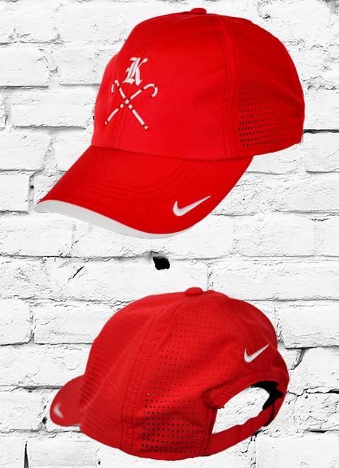 """Maximum breathability is achieved with Dri-FIT moisture management technology and perforated mid and back panels. A contrast underbill reduces sun glare. This 6-panel cap has an unstructured, low profile design with a hook and loop closure. The red cap has contrast white Kappa """"K"""" with canes on front center and swoosh design trademark is embroidered on the bill and center back. Made of 100% Dri-FIT polyester."""
