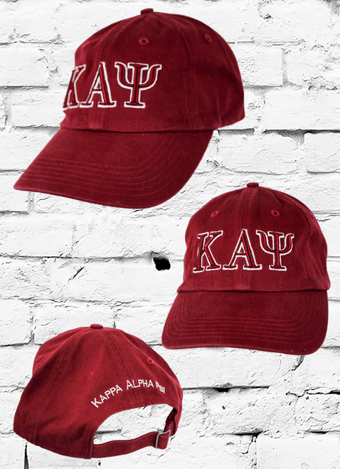 Kappa Alpha Psi crimson dad cap made from durable cotton, this baseball cap features 3D embroidered ΚΑΨ greek symbols on front and Kappa Alpha Psi on the rear.